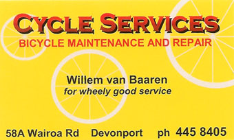 cycle services, bike services. Willem van Baaren, Devonport, Auckland.